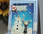 "Handmade ""You Make Me Happy"" Snowman Card"
