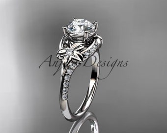 14kt white gold diamond floral wedding ring, engagement ring ADLR125