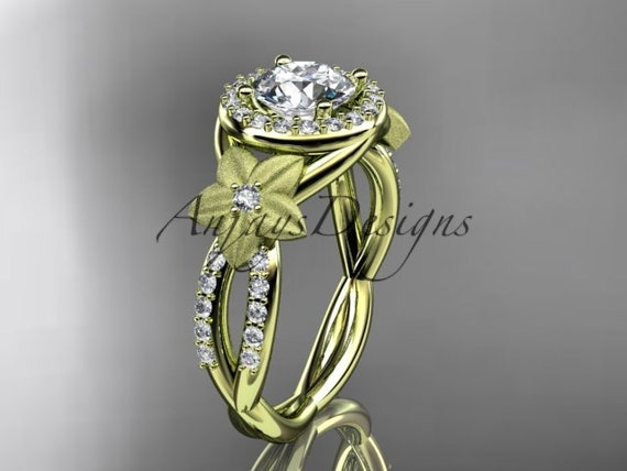 14kt yellow gold diamond floral wedding ring, engagement ring ADLR127