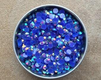 2000pc BLUE 4mm AB Jelly Rhinestones Candy Resin Flatback