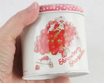 Vtg Strawberry Shortcake Round Metal Tin Container