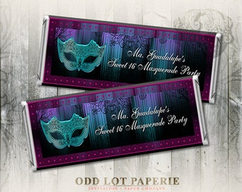 Masquerade Candy Bar Wrapper Party Favor Mardi Gras Hershey Candy Labels Party Favors Quinceanera candy bar label sweet sixteen Printable