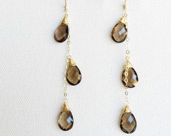 Smoky quartz earrings - gemstone drop earrings - smoky quartz drop earrings (E257)