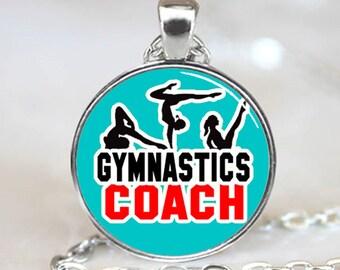 Gymnastics Coach Pendant, Gymnastics coach Necklace, Gymnastics Jewelry, Gymnastic Charm  (PD0618)
