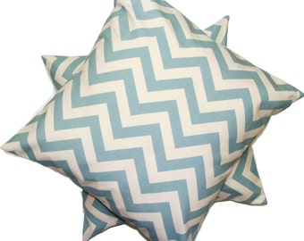BLUE PILLOW SALE.Set of Two.18x18 inch.Decorative Pillow Covers.Blue Cushion Covers.Blue Pillows.Covers.Chevron.Blue Pillows.Home Decor