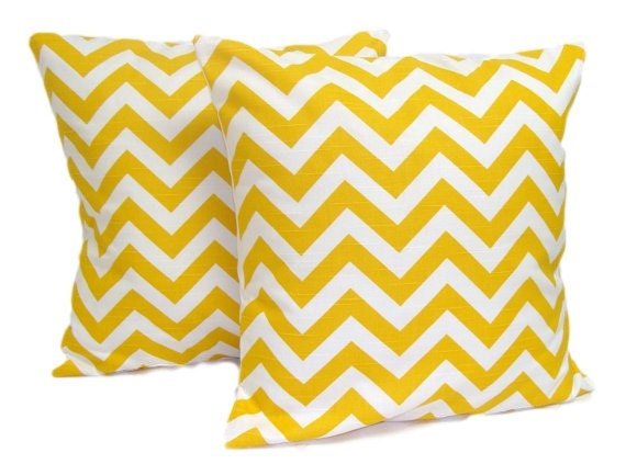 Yellow PILLOW SET.Chevron.Set of Two.16x16 inch.Decorative Pillow Cover.Housewares.Home Decor.Pillow.Pillow Cover.Yellow Cushions.Popular.cm