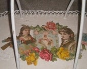 Beautiful Vintage  Chippy Wood and Decoupage Tray, Old Paper, Carry Tray Victorian, Shabby Chic, Chic Carry Tray