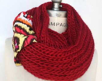 Red knit infinity scarves loop scarf, hand knit handmade scarf, birthday gift ideas, winter scarf, neck warmer, womens gift for mom, PiYOYO