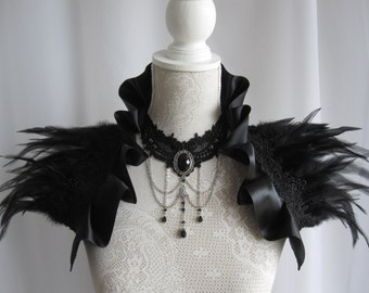 Satin Feather Stole Wrap Shrug Capelet Collar Shoulder Piece Black Gothic Burlesque Bohemian Halloween Witch