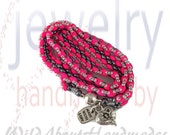 Neon Pink Three Wrap Bracelet With Charms      RESERVED