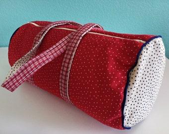 Duffle Bag, Star Fabric, Red White and Blue, Zippered Duffle, Medium Duffle, Travel Bag, Overnight Bag