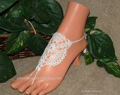 Lace Barefoot Sandal, Bridal Lace Anklet, Foot Jewelry, Footless Sandal, Lace Up Sandal, Women's Footwear, Bridal Shoe, Etsy