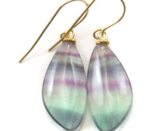 Fluorite Earrings Smooth Teardrop 14k gold filled Flourite Natural Purple Green Teal Striped Curved Cut Soft Colors Spyglass Designs