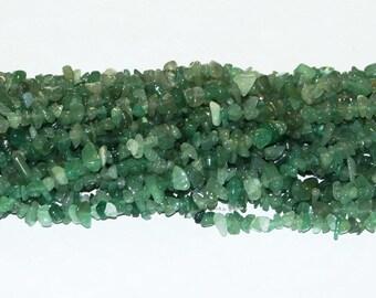 "Green Aventurine Chip Gemstone Bead - 34"" Strand"