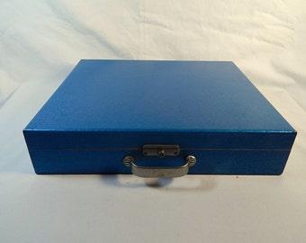 Vintage Film Slide Holder Blue Gun Metal Paint Wooden Wood Box Photography Decor Color-Transporter