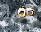 Dangle porcelain earrings- white hoop, 24k gold luster, 14k goldfilled earwires- porcelain jewelry, gift for her