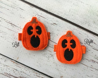 Pumpkin Hair Clip jack o lantern Hair Clip Halloween Hair Clip Pick one or two. Pick Left side or Right.