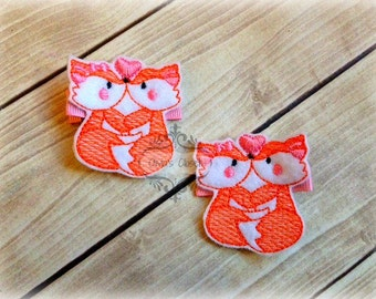 Valentines Day Hair Clip Fox Kisses Hair Clippie Pick one or two. Pick Left side or Right.