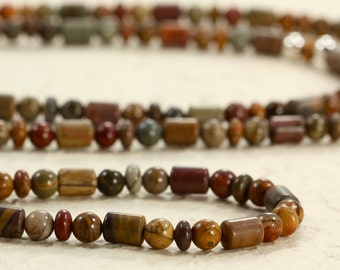 Long Red Creek Jasper Necklace with Sterling Silver, Southwestern Necklace, 6mm Beads, Long Necklace, 6mm Jasper Beads