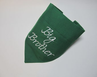 Big Brother Forest Green Dog Bandana - Over the Collar Style - Makes a Great Gift