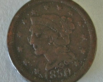 Vintage 1850 Large Penny Big Penny Collector Coins Lot No. 183