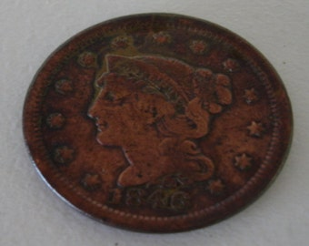 Vintage 1846 Large Penny Braided Hair 1846 Big Penny USA Coins Collector Coins no. 129