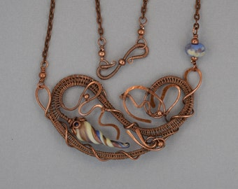 Sculptured Wire Pendant with Rose and Periwinkle Beads