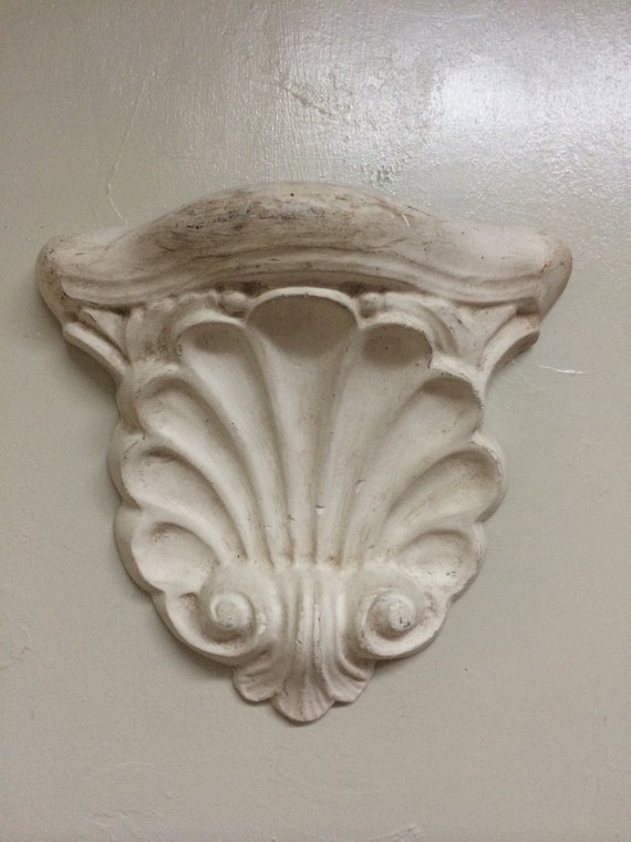 Vintage Shell Wall Lights : Vintage Chalkware Wall Sconce Plaster Shell Wall by frenchtwine