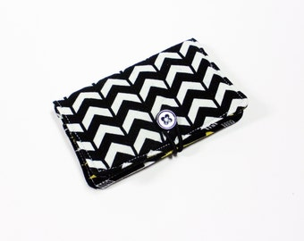 Black White Broken Chevron Fabric Business Card Holder, with Black Gold Arrows - Credit Card Holder, Cloth Card Holder, Gift Card Holder