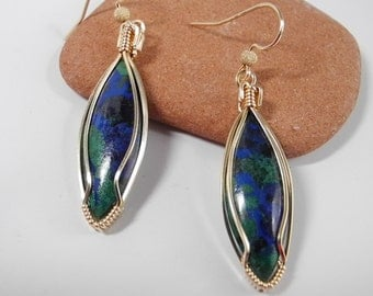 Natural Azurite Earrings,  Lapis Lazuli, Gold Lapis Earrings, Genuine Azurite, Teardrop Shape, Lapis Malachite, Gold Wire Wrap,  Blue Green