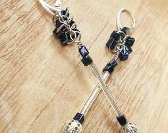 Long Metallic Earrings - Futuristic Earrings - Rocker Earrings - Tiny Mic Earrings