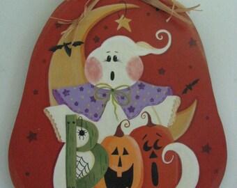 Pumpkin,  halloween, ghost, moon, pumpkin, boo, handpainted.fall decor,door decor, wall decor