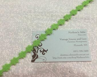 1 yard of 1/4 inch Green Crochet lace for valentines, sweetheart, baby girl, wedding by MarlenesAttic - Item 1DD
