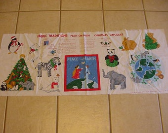Vintage Fabric Panel, Peace on Earth Appliques, Christmas, Fabric Traditions, Animals, Tree