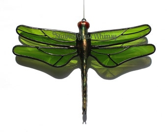 Stained Glass DRAGONFLY Suncatcher, Wispy Moss Green, Handcast Metal Body, USA Handmade, Dragonfly Ornament, Green Dragonfly, Dragonfly