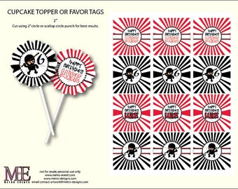 Ninja Warrior Birthday Decorations, Cupcake Toppers, Favor Tags