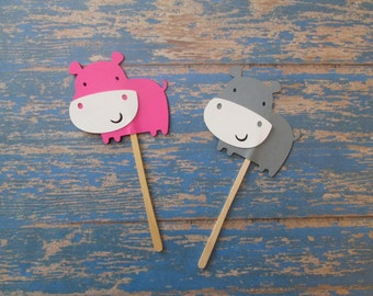 Hippo Cupcake Toppers- Grey Pink Hippos, Hippos Cupcakes, Cupcake Toppers, Its a girl, safari theme, jungle baby, baby shower cupcakes