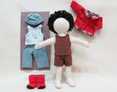 """SALE 11"""" Eco friendly soft hemp linen doll with black cotton hair and changes of clothes, machine washable."""