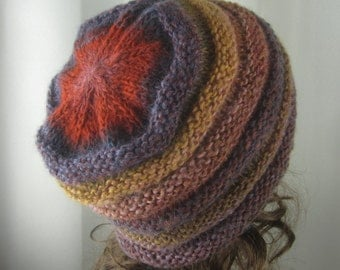 Hand Knit Marmalde and Jam Beanie -  Soft  Hat in Multi-Tones of Butterscotch, Plum, Red- Spring/Fall Fashion -  Accessories