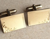 sweet vintage textured surface gold tone metal engraved rectangular men's cuff links
