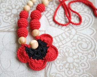 Nursing necklace - poppy colors - red black babywearing & breastfeeding necklace