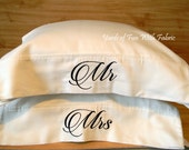 Mr and Mrs PILLOWCASES. Set of Two. White Cotton Pillow Cases. Bed Linens.  Embroidered Pillowcases. Wedding Gift.  Bridal Shower Gift.