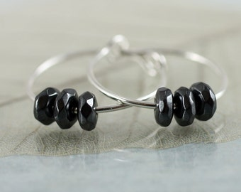 Sterling Silver Hoops with gemstones. Hematite and silver Earrings