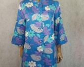 70s Vintage St Michael Psych Floral Print Button Up Dress/Coat.