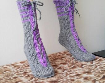 Gray Purple Luxurious Knit Socks, Hand knitted socks, winter accessories,  Winter socks,  Warm socks for  Girl socks