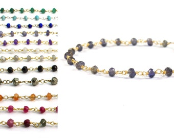 Rosary Stacking Bracelet. Iolite, Water Sapphire. You Choose Gemstone. 925 silver or 22k Gold Vermeil. B-1790