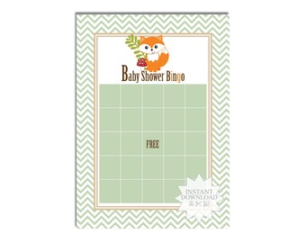 Little Fox Baby Shower Bingo Game-Animal Baby Shower Bingo-INSTANT DOWNLOAD
