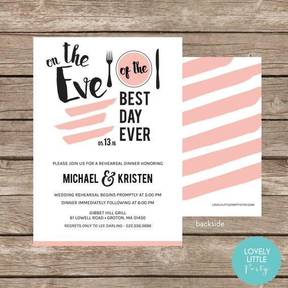 Eve of the Best Day Rehearsal Dinner Invitation- Roxie Collection -DIY Printable or Printed -  Lovely Little Party