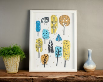 Trees Print - Illustrated Tree Print - White Background - Artwork - Made In Scotland - Illustration - Colourful - Scottish Design - Nature