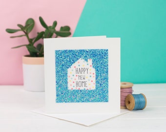 New Home Card - Blue Glitter house card - Happy New Home card - Card for Housewarming - Card for New Home Owners -
